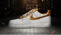 Nike Air Force One Shoe in White &amp; Gold