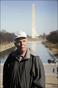 Vernon Hugh Bowman in front of the Washington Monument