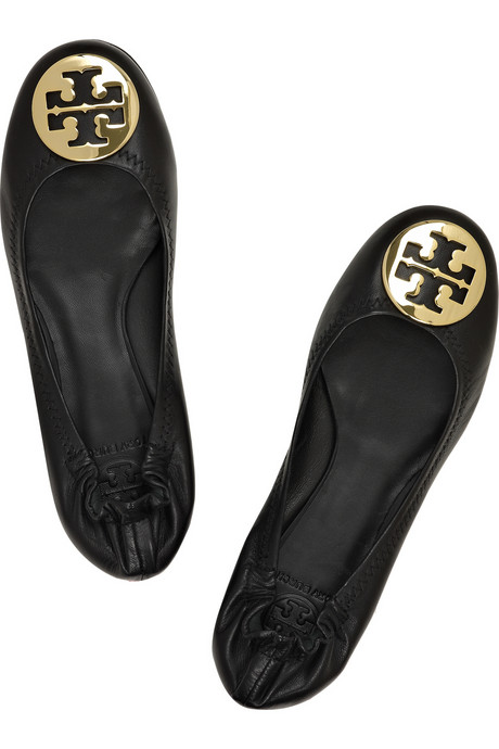 Leather Ballerina Flats with Tory Burch Mark